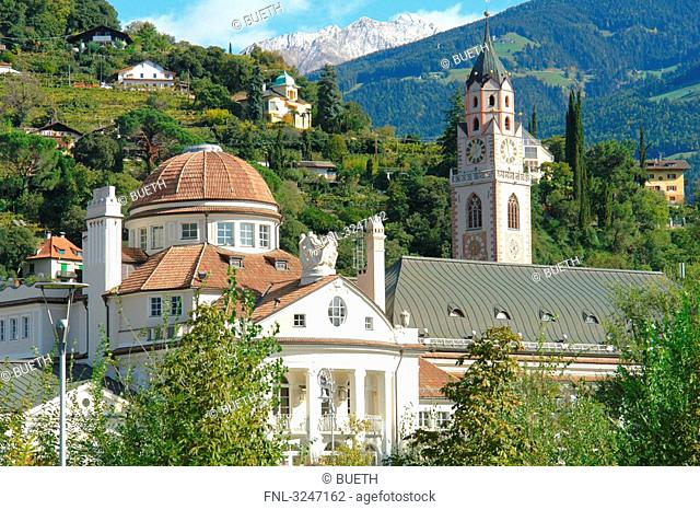 Stadtkirche St, Nikolaus and spa hotel, Meran, south Tyrol, Italy