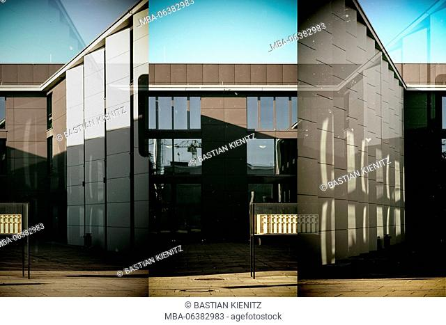 Abstract collage of the modern buildings of the music college on the grounds of Johannes Gutenberg University of Mainz
