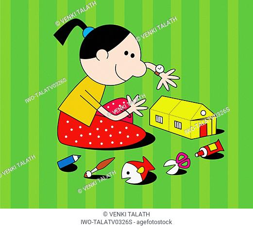 Girl Building A Toy House
