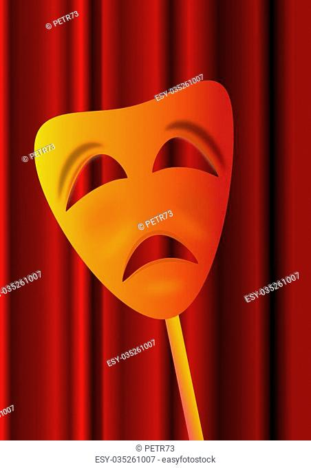The sad theatrical mask the burgundy curtain