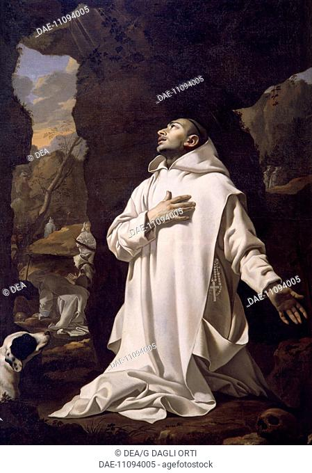 St Bruno praying in the desert, 1638, by Nicolas Mignard (1606-1668), oil on canvas, 220x144.5 cm.  Avignon, Musée Calvet (Archaeological And Art Museum)