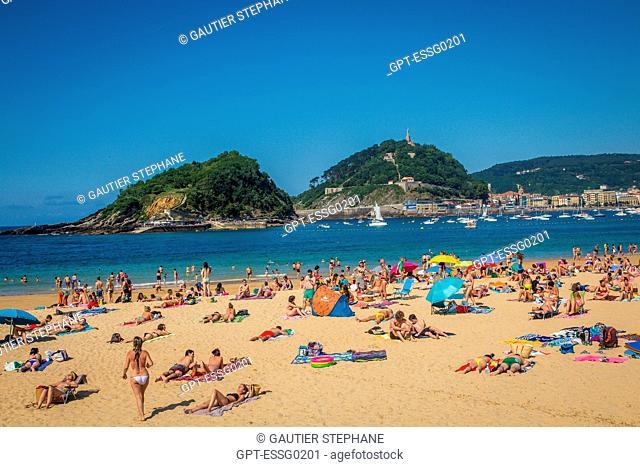 ONDARRETA BEACH, LA CONCHA BAY, SANTA CLARA ISLAND, SAN SEBASTIAN, DONOSTIA, BASQUE COUNTRY, SPAIN