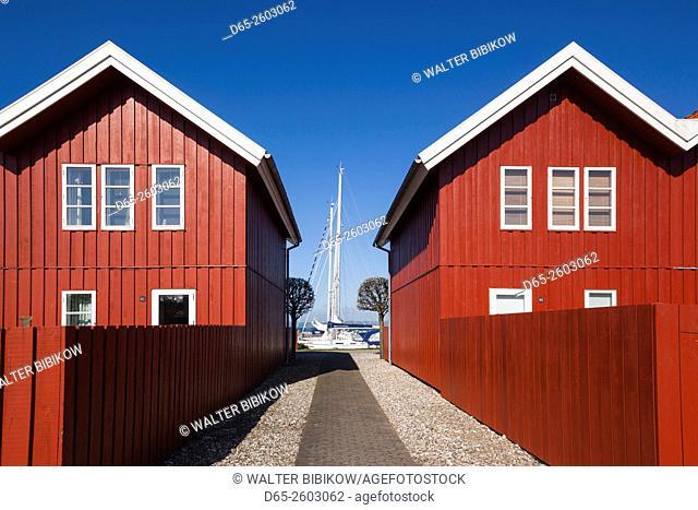 Denmark, Jutland, Ebeltoft, red port buildlings