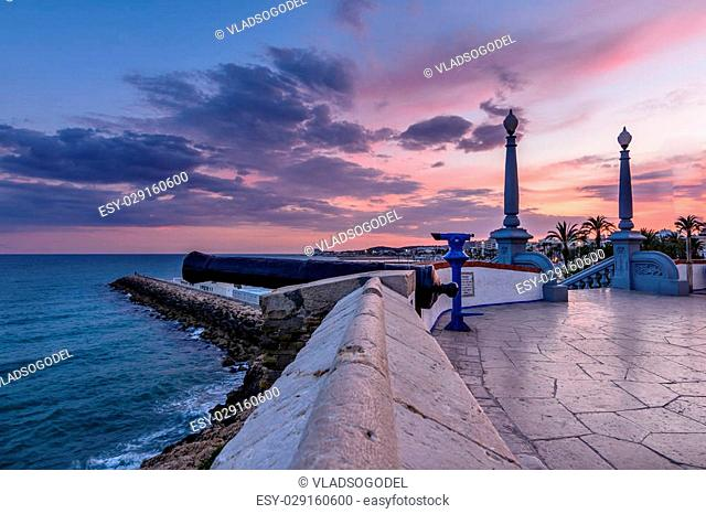 Sitges, Spain - June 10: Perspective view with cliff on June 6, 2016 in Sitges, Spain. This coastal city in Catalonia is famous for its Film Festival and...