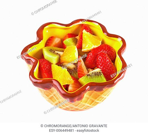 Healthy fruit salad in the bowl