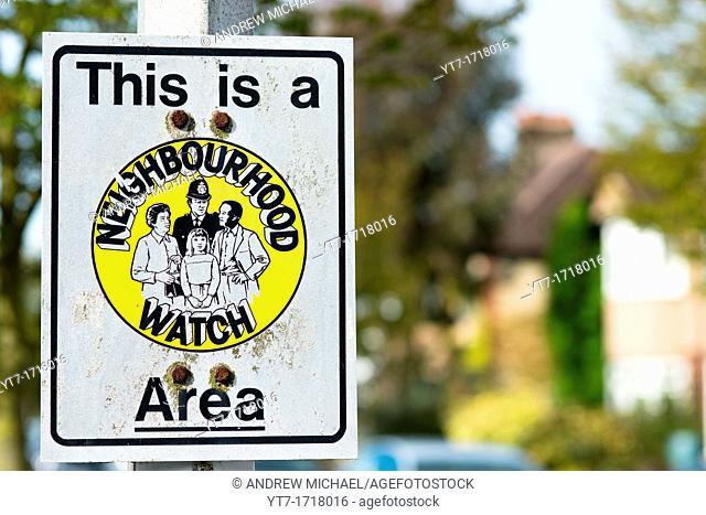 Neighbourhood Watch sign in Cambridge suburban street  UK