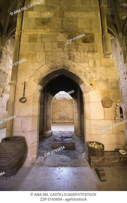 Monastery of Santa Maria de Huerta. Soria province, Castilla-León, Spain . The old fireplace at kitchen