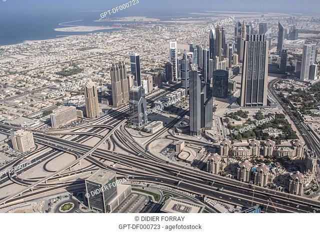 SHOT OF THE FINANCIAL CENTER AND SHEIKH ZAYED ROAD FROM THE OBSERVATORY IN THE BURJ KHALIFA TOWER, ONCE CALLED BURJ DUBAI