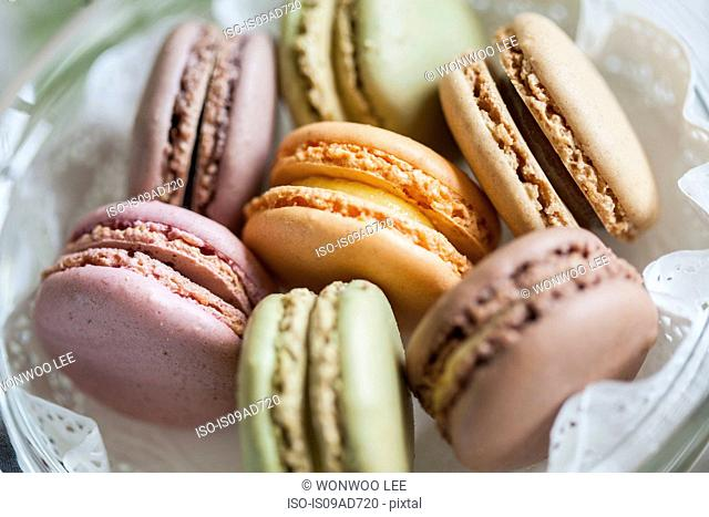 Close up still life of colorful macaroons