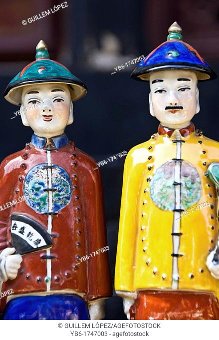 Traditional Chinese ceramic figurines in a market, Pingyao, Shaanxi Province, China