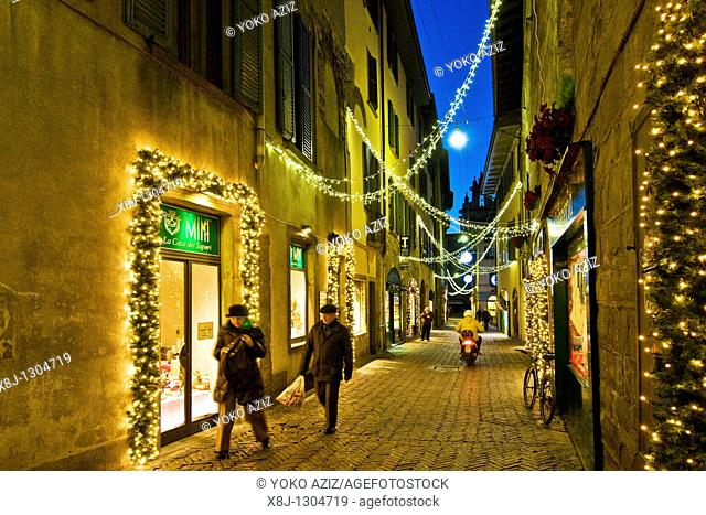 Christmas time in old city, Bergamo, Italy