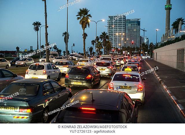 evening traffic at HaYarkon Street in Tel Aviv city, Israel. View with Hassan Bek Mosque minaret (left)
