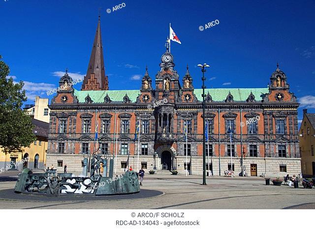 Townhall and fountain Malmo Skane Sweden Radhuset Malmö
