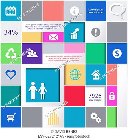 Abstract background with colorful squares and infographic icons