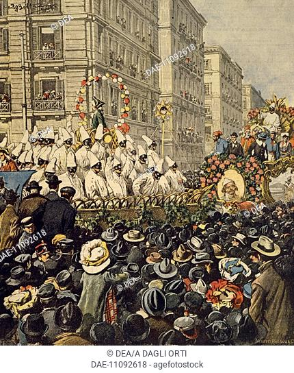 Crowds during the carnival in Naples. Illustrator Achille Beltrame (1871-1945), from La Domenica del Corriere, 31st January 1904
