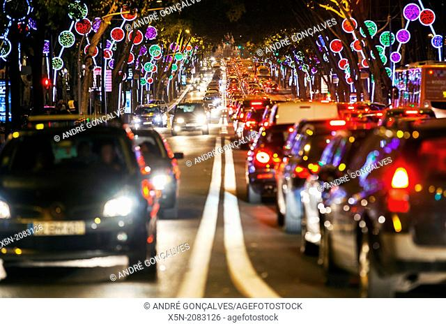 Christmas Lights in the Avenida da Liberdade, Lisbon, Portugal, Europe