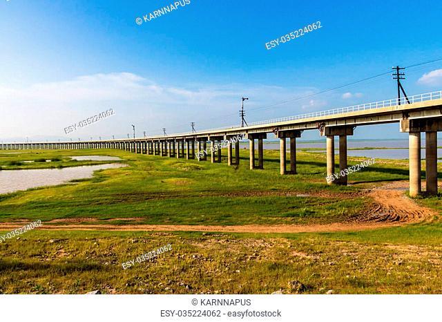 A train bridge at Pa Sak Jolasid Dam, Thailand