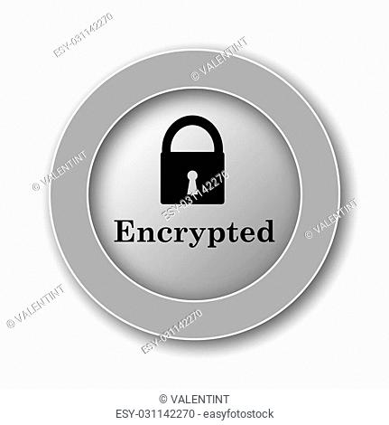 Encrypted icon. Internet button on white background