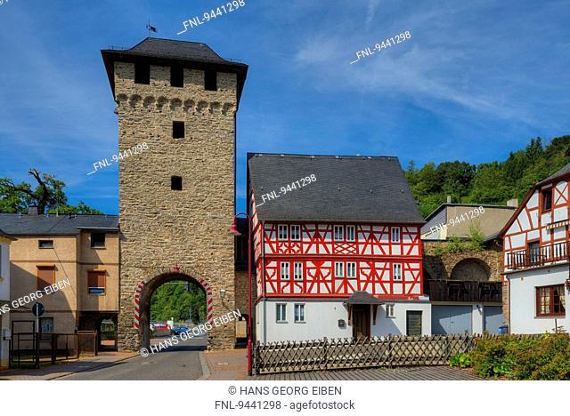Gate tower, Nassau, Rhineland-Palatinate, Germany, Europe
