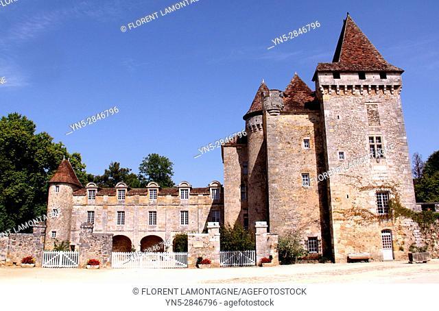"""Saint Jean de Cole, Dordogne, Aquitaine, France, label """"""""Plus beaux villages de France"""""""". Chateau de la Marthonié"""