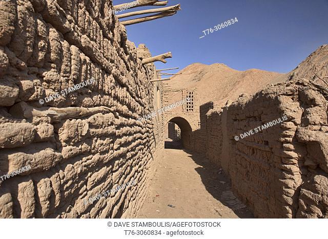 Ancient mud brick village in the Tuyoq Valley, Turpan, Xinjiang, China
