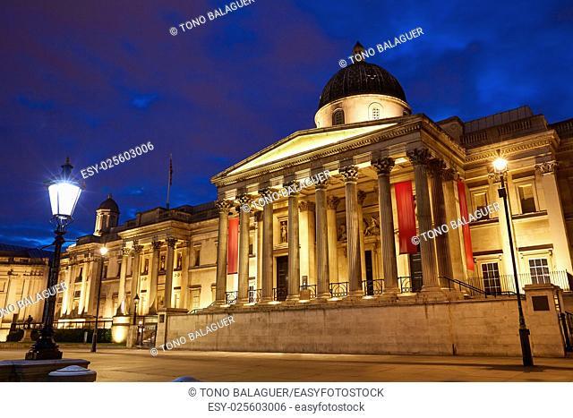 London National Galelery in Trafalgar Square at sunset England
