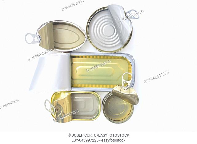 top view of tin can isolated on white