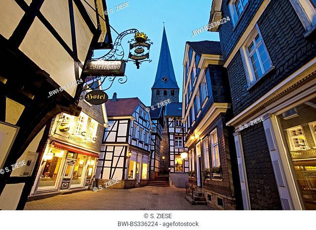 old city of Hattingen with Sankt Georg church, Germany, North Rhine-Westphalia, Ruhr Area, Hattingen