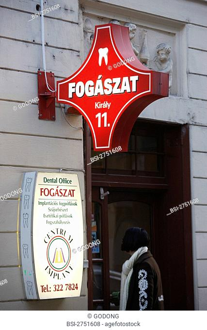 Photo essay. Sign of a dental center in Budapest, Hungary. Dental tourism in Eastern Europe