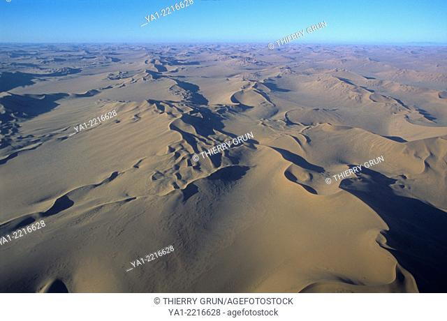 Aerial view of Namib-Naukluft NP desert, north west of Sossusvlei, Namibia, Africa