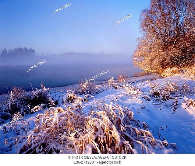 Polad. Winter in Podlasie region. Bug river