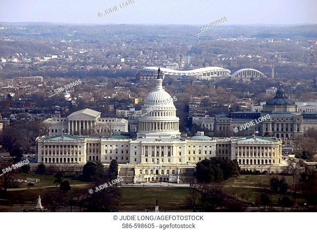 Aerial view of US Capitol Building, Washington, DC