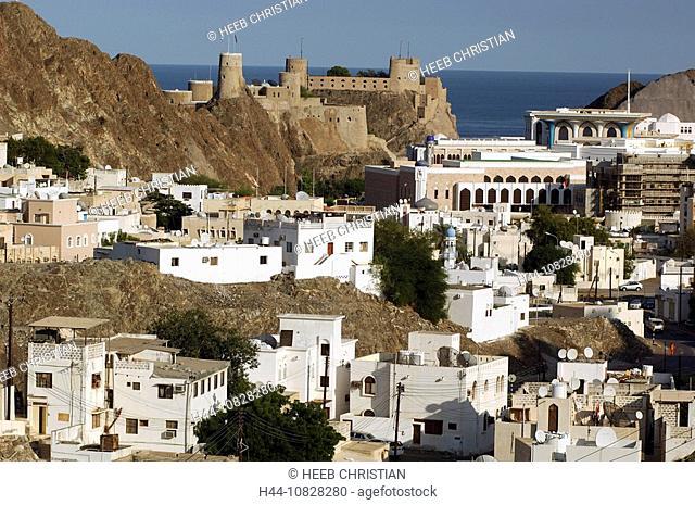 Al Mirani, castle, fortress, sultan palace, sultan, palace, Al Alam, Maskat, Old Town, coast, town, city, sea, Muscat