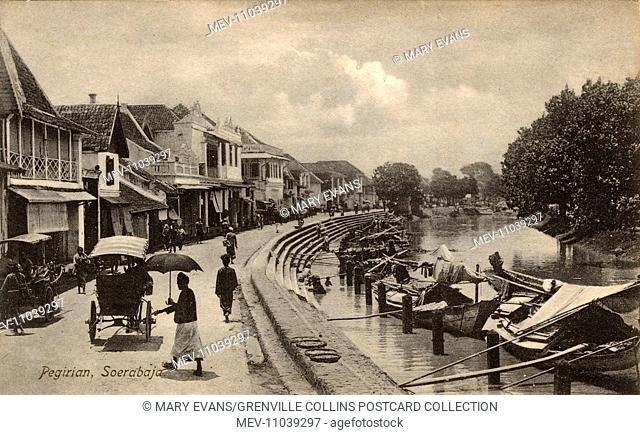 Riverside Scene - The Pegirian River, Surabaya, Java, Indonesia