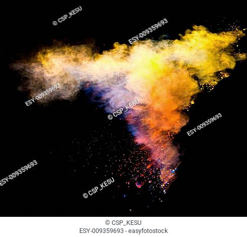 launched colorful powder over black