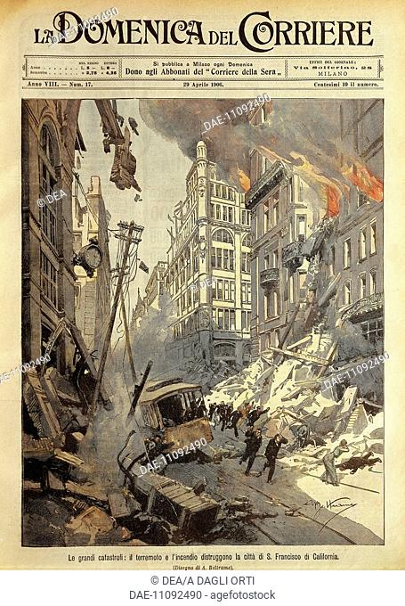Great Disasters: The earthquake and fire destroying the City of San Francisco in California. Illustrator Achille Beltrame (1871-1945)