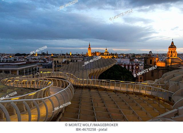 View from the Metropol Parasol to La Giralda and Iglesia del Salvador, Bell Tower of the Cathedral of Seville, Catedral de Santa Maria de la Sede, Seville