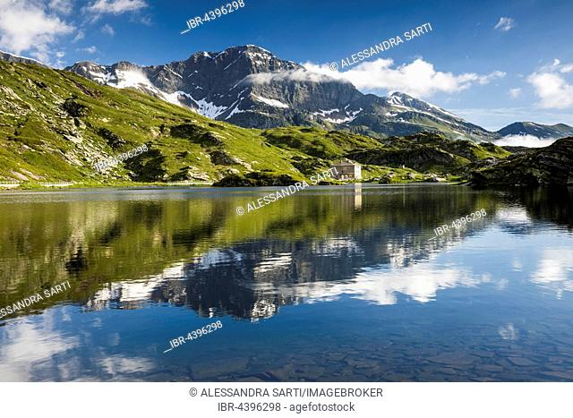 San Bernardino Pass, water reflection, Grison Alps, Graubünden Canton, Switzerland
