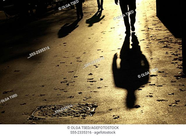 Pedestrians. Rambla Catalunya, Barcelona, Catalonia, Spain