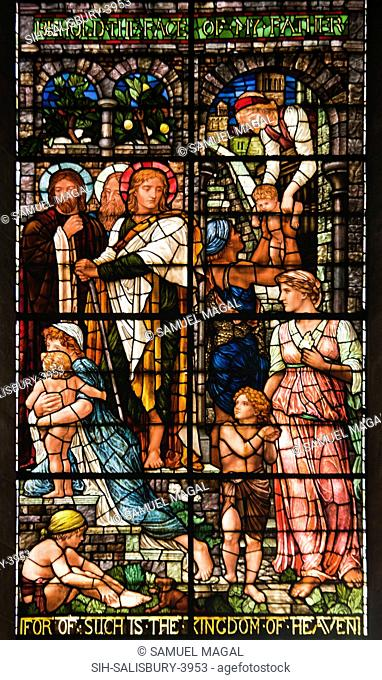 A stained glass window, depicting Jesus saying: For of such is the kingdom of Heaven  Matthew 19:14.To say, the Kingdom of Heaven is compared to little children