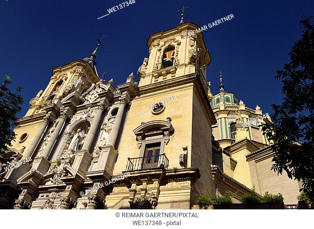 Catholic Church of Saint John of God with twin bell towers and cupola in Granada Spain