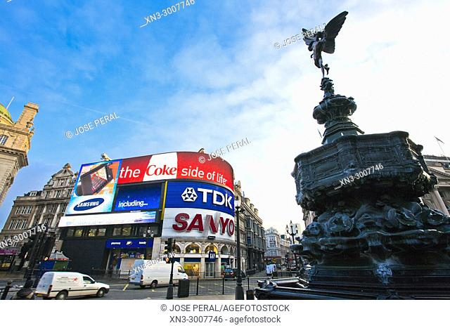 The Angel of Christian Charity, Anteros, Often called 'Eros', on Shaftesbury Memorial Fountain, by Alfred Gilbert, Piccadilly Circus, City of Westminster