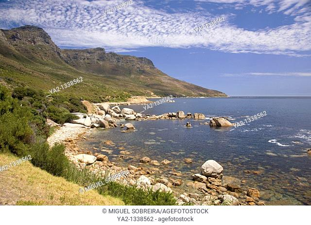 View of Cape Peninsula - of Bakoven and Ouderkraal coastline coastal road towards Hout Bay, Cape Town South Africa