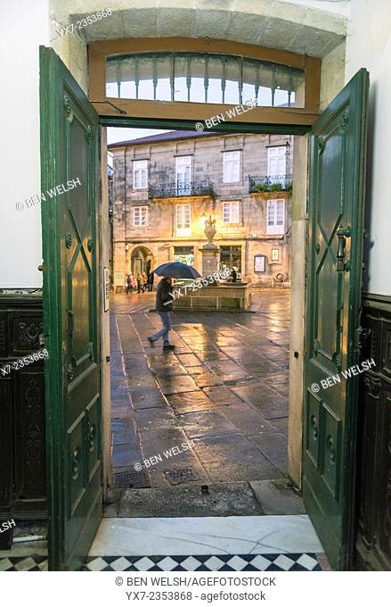 View though open doors of Santiago de Compostela streets. Galicia, Spain, Europe