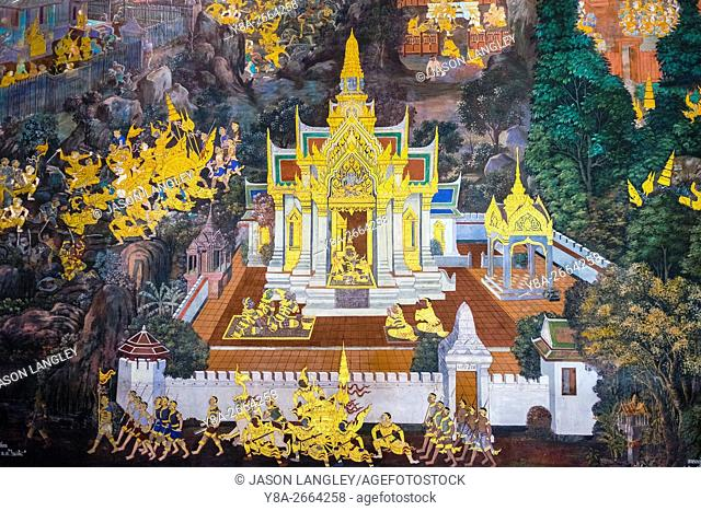 Murals depicting scenes from the Ramakien, Temple of the Emerald Buddha (Wat Phra Kaew), Grand Palace complex, Bangkok, Thailand