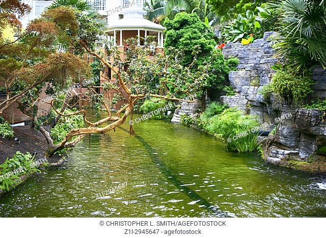 Canal in the botanical garden style Gaylord Opryland hotel resort in Nashville TN, USA