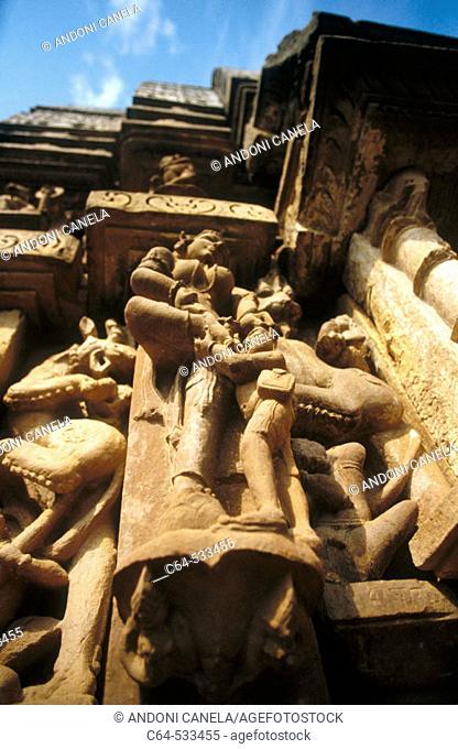 Temple architectural detail. Khajuraho. Madhya Pradesh. India