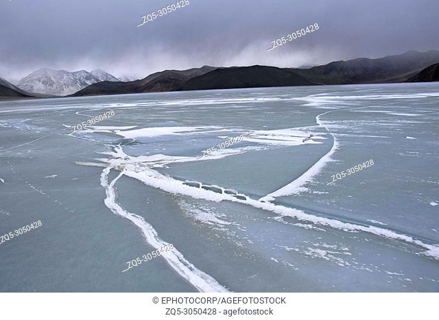 Frozen Pangong lake, Ladakh, Jammu and Kashmir