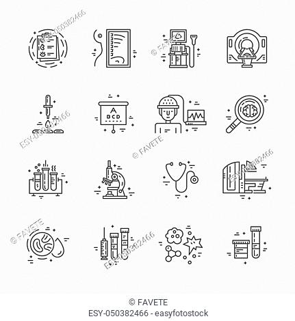 Symbols of medical technology made in line style vector. Illustration of medical services and symbols