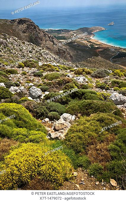 Looking down on the small hamlet of Xerokambos on Crete's remote, and unspoilt, south eastern coast, Crete, Greece